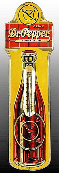 Dr. Pepper bottle thermometer with 10-2-4 graphic and Good For Life slogan, circa late 1930s to early 1940s, embossed tin.