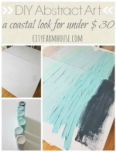 DIY Abstract Art-A Coastal Look For Under $30 - City Farmhouse