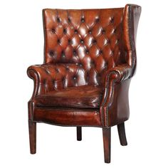 Georgian Style Leather Library Chair | From a unique collection of antique and modern armchairs at https://www.1stdibs.com/furniture/seating/armchairs/
