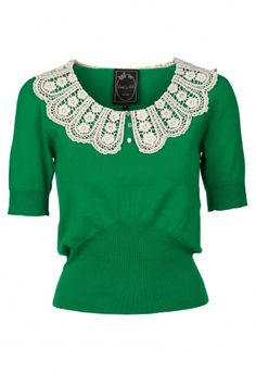 Edith & Ella - 50s Peter Pan Crochet top in green