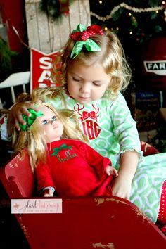 Merriest of Christmas photos in this adorable dress/ gown set with matching doll dress!