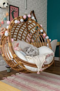 Swing, brick wall and woodwork for a room .Swing, brick wall and woodwork for a cozy and delicate room. Here the swing is the main protagonist of the decoration. Girl Bedroom Designs, Room Ideas Bedroom, Bedroom Decor, Cute Room Ideas, Cute Room Decor, Aesthetic Room Decor, Cozy Room, Dream Rooms, Girl Room