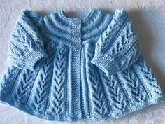 Hand knitted Baby Boys Pale Blue  Matinee cardigan fits 0-3 mths 'NEW'