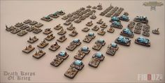 "My Death Korps Of Krieg amry for the game Epic Armageddon. 6 mm minis based on scenic stands of my own. The main paint scheme is turquoise blue to give to this army a french ""World War I - 14-18 "" trench army look & feel.  #dkok #epic #epic40k #wh40k #horusheresy #miniatures"
