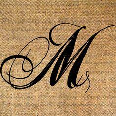 Monogram Initial Letter M Digital Collage Sheet Burlap Digital Download Calligraphy to Transfer 2 Burlap Pillow Tote Tea Towels No. 2089M