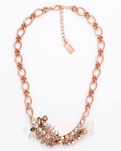 HANDMADE NECKLACE 14inch 14kt rose gold plated base metal chain with 2 1/2 inch extender. 4 inch long by 1 inch wide pendant. Opal topaz and opaque Swarovski crystals swirl together creating a striking flair of vintage creativity at its finest. This piece will be the fabulous finishing touch on your outfit. Lobster clasp. Lead and nickel free. Handmade in Italy. http://ift.tt/1MV2Ylk