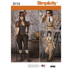 Simplicity Misses Steampunk Costume Sewing Pattern, Paper SIZE RANGE: Simplicity Sewing Pattern. Misses' steampunk costume pattern from Viktorianischer Steampunk, Costume Steampunk, Steampunk Outfits, Steampunk Jacket, Steampunk Wedding, Steampunk Clothing, Steampunk Fashion, Jodhpur, Steampunk Vetements