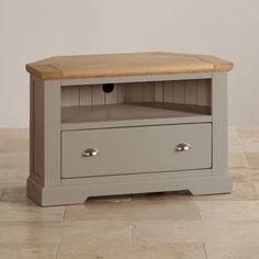 St Ives Natural Oak and Light Grey Painted Corner TV Cabinet - Image 2 Grey Furniture, Solid Wood Furniture, Painted Furniture, Large Tv Unit, The Unit, Grey Corner Tv Unit, Oak Tv Cabinet, Corner Tv Cabinets, Tv Unit Design