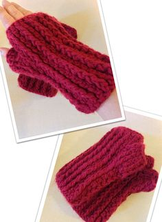 Crochet/Kitted Fingerless glove in Maroon Red yarn & Available @ $25 + Extra shipping change