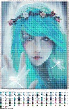 Blue lady x-stitch Fantasy Cross Stitch, Cross Stitch Fairy, Cross Stitch Angels, Cat Cross Stitches, Counted Cross Stitch Patterns, Cross Stitching, Seed Bead Projects, Joker Card, Cross Stitch Boards