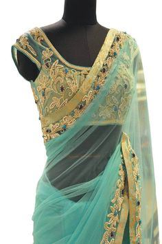 Turquoise Blue Soft banaras Net Saree from Shans Boutique