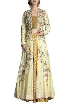 Buy Embroidered jacket Lehenga set by Joy Mitra at Aza Fashions Cotton Lehenga, Silk Lehenga, Jacket Lehenga, Lehnga Dress, Lehenga Designs, Special Dresses, Silk Jacket, Embroidered Jacket, Long Jackets
