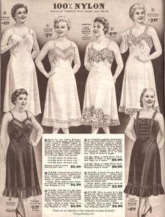 Spring and Summer 1955 Lane Bryant catalog; full length slips in white and black in nylon tricot