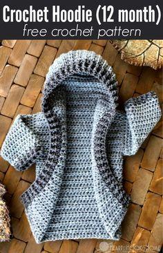 12 month size Crochet Hoodie free pattern