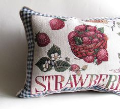 Strawberry Pillow by SouthernTwistedBags on Etsy Strawberry Patch, Strawberry Cheesecake, Strawberry Shortcake, Strawberry Decorations, Strawberry Fields Forever, Twist Braids, Cold Process Soap, Handmade Pillows, Artisan Jewelry