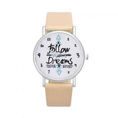 Dámské hodinky s nápisem v ciferníku béžové – 30 % SLEVA + POŠTOVNÉ ZDARMA  Na tento 6bc27cb56a