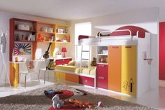 kid bedroom decorating ideas with white seat