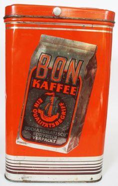 Bon Coffee Vintage Tins, Vintage Coffee, Antique Coffee Grinder, Coffee Tin, Gas Pumps, Coffee Packaging, Coffee Is Life, Root Beer, Vintage Advertisements