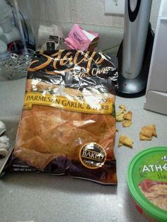 Please notice to the unused portion of the stacy's pita chips that are lying on the counter. Every single bag has at least half of the broken chips. If it packaging or handeling good darned question.. We pay dearly for our products. Just staying for that half of these products are not usable.