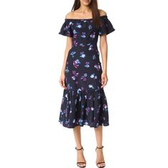 --evaChic--This Rebecca Taylor Bell Flower Off-the-Shoulder Ruffle Dress features an amazing floral motif and a prairie-inspired silhouette accented with a ruffle off-the-shoulder line and a flared hem. Tea-length makes it appropriate for an array of formal and casual engagements.          https://www.evachic.com/product/rebecca-taylor-bell-flower-off-the-shoulder-ruffle-dress/