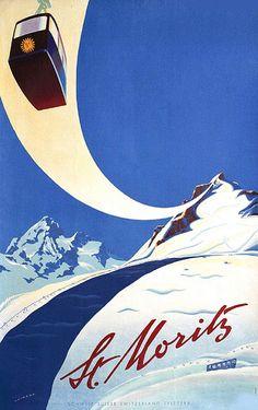 Vintage art deco poster for St Moritz, Ski Vintage, Vintage Ski Posters, Retro Poster, Art Deco Posters, Vintage Art, Poster Sport, Art Deco Font, Retro Illustration, Grafik Design