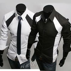 Mens Casual Luxury Stylish Dress Slim Fit Long Sleeves Shirts St36