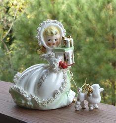 1950s Vintage NAPCO Christmas Spagetti Lady Shopper Figurine w/ Poodle