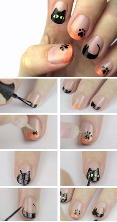 Awesome Halloween Nail Art Designs Black Cat Nail Art Diy Halloween Nail Design Ideas For Short Nails Nail Art Chat, Cat Nail Art, Cat Nails, Nail Art Diy, Holiday Nail Designs, New Nail Designs, Holiday Nail Art, Simple Nail Designs, Art Designs