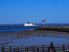 De Rottum vaart uit Lauwersoog naar Schiermonnikoog. Het Eiland dat je in de werte ziet liggen.Friesland