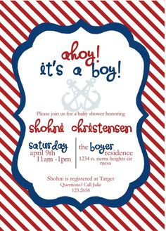 Nautical Baby Shower Invite  #babyshower - maybe lighter colors for a girl