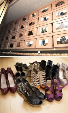 Photos are a time honored way to identify shoes.  I love that the shoe boxes are uniform.I would separate them by type and with the categories I'd go in color order.  It saves time in the long run.