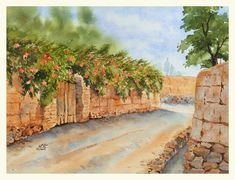 Original watercolor painting from Iran's Rural Alley