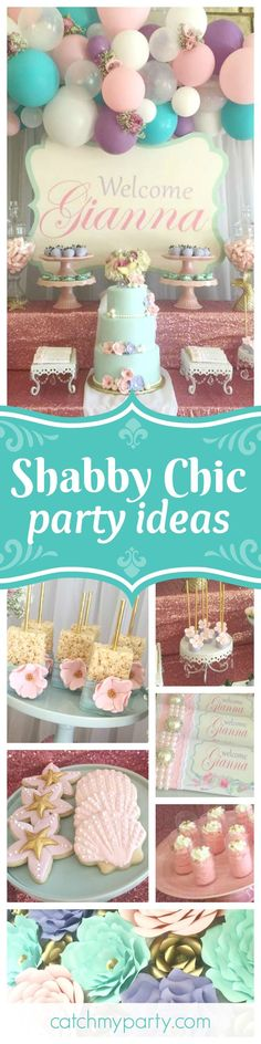 Take a look at this fabulous shabby chic vintage mermaid birthday party! The birthday cake is absolutely stunning!! See more party ideas and share yours at CatchMyParty.com