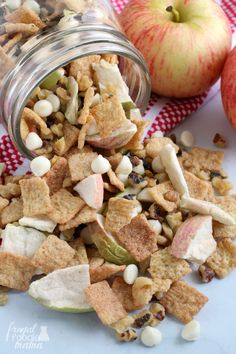 Easy Apple Pie Trail Mix is part of Easy snack mix recipes Simple - Whip up this fall inspired Easy Apple Pie Trail Mix in just minutes with only 4 simple ingredients Trail Mix Recipes, Snack Mix Recipes, Snack Mixes, Dinner Recipes, Chex Mix, Apple Recipes, Fall Recipes, Vegan Recipes, Cooking Recipes