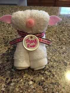 Washcloth Lamb baby shower favor