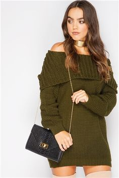 Syden Khaki Bardot Knit Jumper Dress