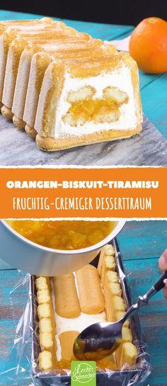 Dieses sommerliche Tiramisu verführt zum Träumen! #rezept #rezepte #tiramisu #sommer #frucht #orange #sahne #mascarpone #biskuit #löffelbiskuit #kastenform