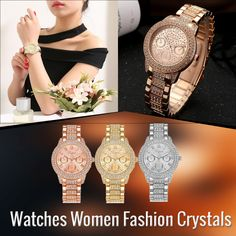 Watches Women Fashion Crystals Dress. Crystal Dress, Quartz, Band, Watches, Crystals, Womens Fashion, Jewelry, Dresses, Wrist Watches