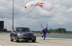 Who wins, Mark Webber in the Infiniti G37S or professional skydiver Jon DeVore?