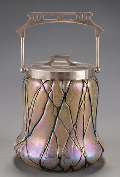 Art Nouveau Art Glass Biscuit Barrel by Wilhelm Kralik Sohn