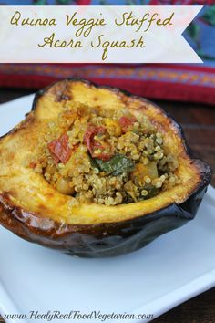 Considering the time of year and the bounty of delicious fall food, I thought this quinoa veggie stuffed acorn squash (vegan) would be a great addition to the holiday table! Fall Recipes, Whole Food Recipes, Cooking Recipes, Qinuoa Recipes, Vegetarian Recipes, Healthy Recipes, Healthy Foods, Healthy Grains, Vegetable Recipes