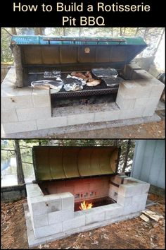 A large rotisserie pit BBQ for a large gathering! Bbq Pit Smoker, Fire Pit Grill, Pit Bbq, Diy Smoker, Backyard Bbq Pit, Large Backyard Landscaping, Backyard Ideas, Custom Bbq Pits, Large Bbq