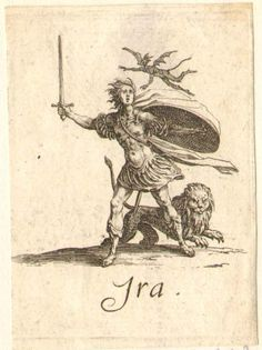 Anger: male figure in classical armour, with shield and sword, arms outstretched; with demon hovering over, and lion at his feet; on white ground. c.1618/25. Jacques Callot