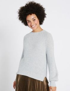 Buy the Ribbed Balloon Sleeve Round Neck Jumper from Marks and Spencer's range. Signature Style, Knitwear, Jumper, Awards, My Style, How To Wear, Fashion Trends, Outfits, Clothes