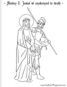 Coloring page for the First Station of the Cross: Jesus is condemned to death |