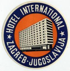 Hotel International Zagreb Jugoslavia Luggage Label | eBay