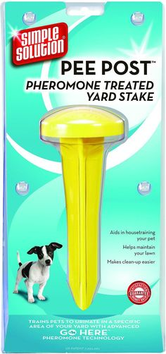 Simple Solution Pee Post* Outdoor Potty Training Aid for puppies and adult dogs is a non-toxic pheromone-infused yard stake that encourages them to eliminate in a specific area of your yard. Pee Post* Outdoor Potty Training Aid can be used in conjunction with other dog housetraining methods, and helps to make clean up easier while maintaining your lawn.