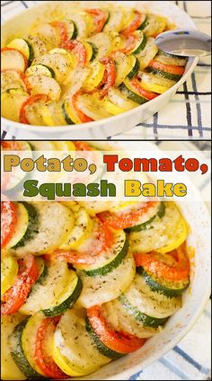 As beautiful as it is delicious, this Potato, Tomato, Squash Bake is the perfect side dish!! www.joyineverysea...