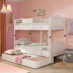 Chic Space Saving Bunk Beds With Trundle Girls furniture often demand having details that perfects any girls sleeping needs. Our space saving bunk beds will be a perfect solution for her growing needs either in small spaces or for sleepovers. #homedecor #bedroom #girlsbedroom #bunkbeds #shopping #bedroomideas #bedroomdecor #bedroomdesign #bedding