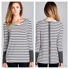 🎉HP🎉 Striped back button top Cute and comfy button back detail shirt!               🎀96% modal/4% spandex.                                     🎀 I discount 10% on bundles of 2 or more Boutique Tops Tees - Long Sleeve